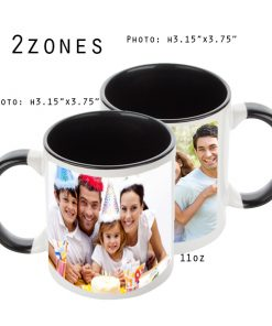 Mugs 11 oz White/Black Printed 2 Zones - Eimpression