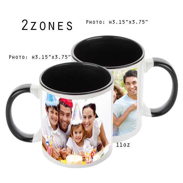 Mugs 11 oz White/Black Printed 2 Zones - Eimpression