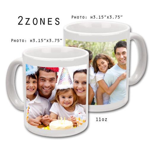 Mugs 11 oz White Printed 2 Zones - Eimpression.ca