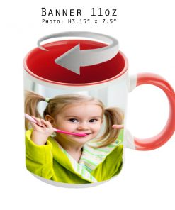 Mugs 11 oz White/Red Banner - Eimpression.ca