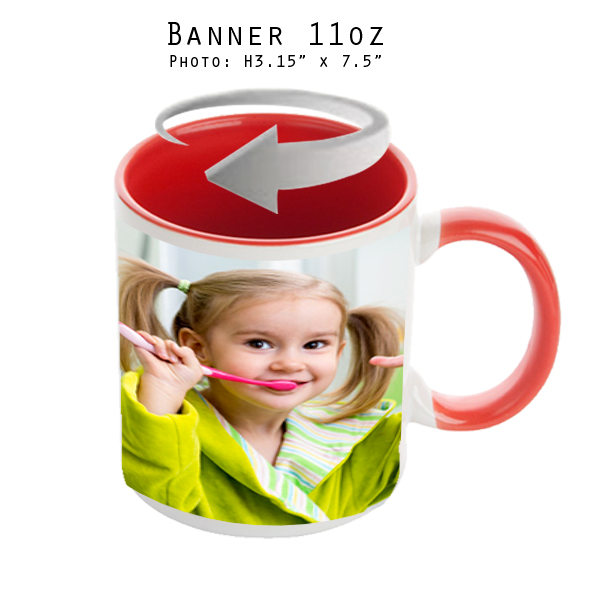 Mugs 11 oz White/Red Banner - Eimpression.ca