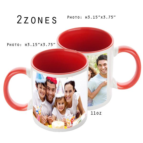 Mugs 11 oz White/Red Printed 2 Zones - Eimpression.ca
