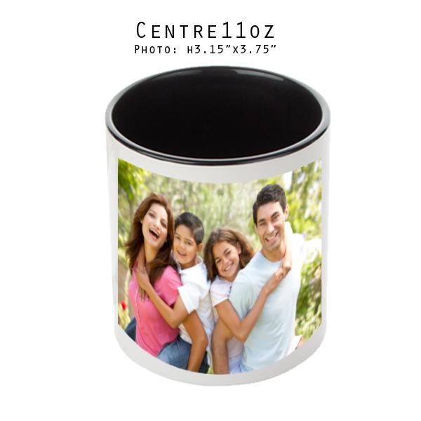 Mugs 11 oz White/Black Printed Center - Eimpression.ca