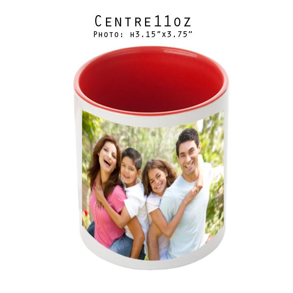 Mugs 11 oz White/Red Printed Center - Eimpression.ca