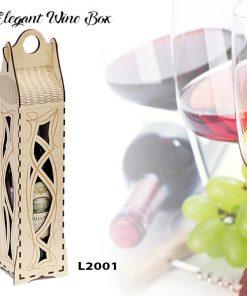 L2001 Boîte à vin Élégante, découpe au laser et gravure, bois