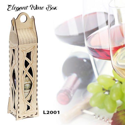 L2001 Elegant Wine Box, Laser Cut & Engraving, Wood