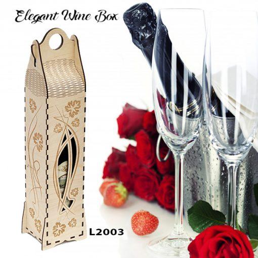 L2003 Elegant Wine Box, Laser Cut & Engraving, Wood