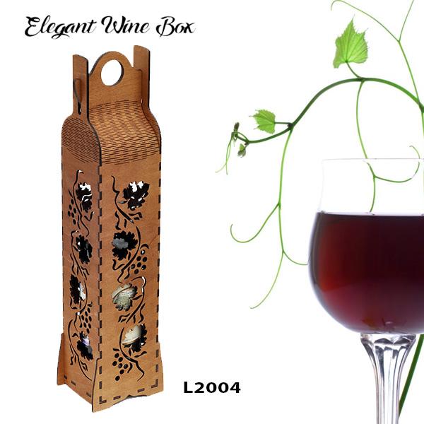L2004 Elegant Wine Box, Laser Cut & Engraving, Wood