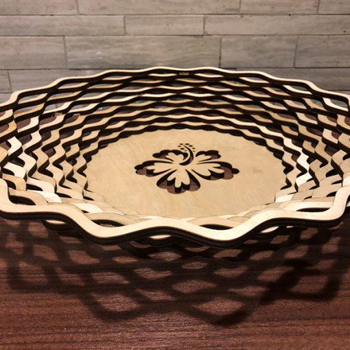 Wooden Bowl - Basket laser cut and engraving