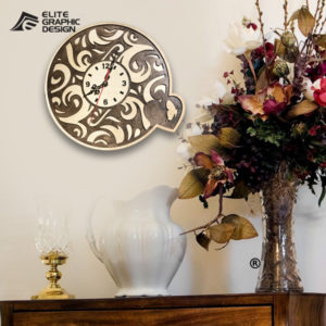 Wood Laser Cut Clock Antique Oval Cercle Wall ClockD