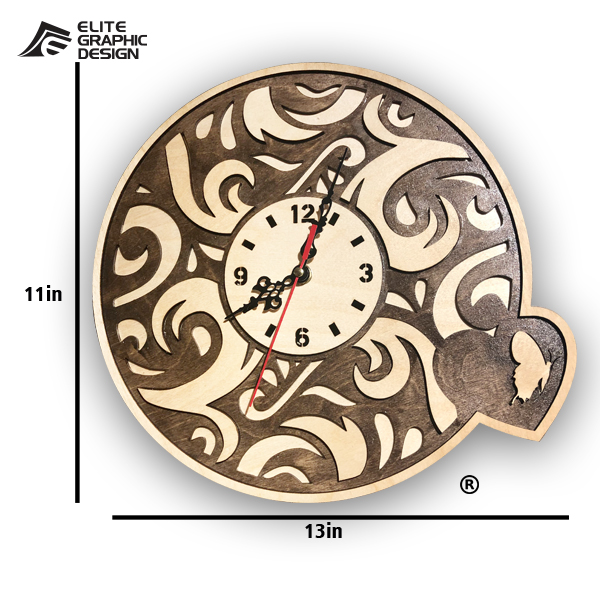 Wood Laser Cut Clock Antique Oval Cercle Wall ClockD