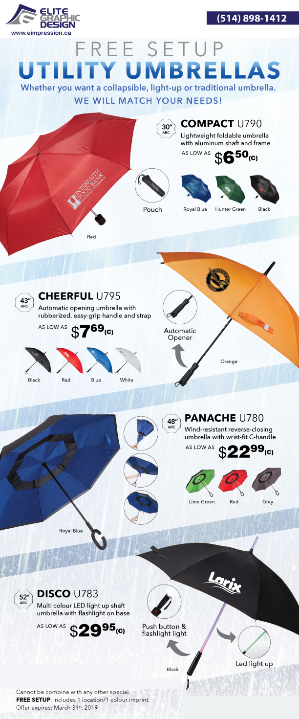 Utility Umbrellas Promo Products print Cheerful - Compact