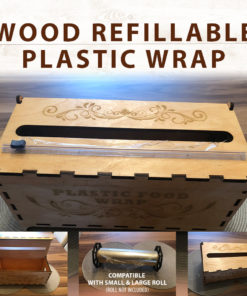Wood Laser Cut Refillable Plastic Wrap - Slide Cutter