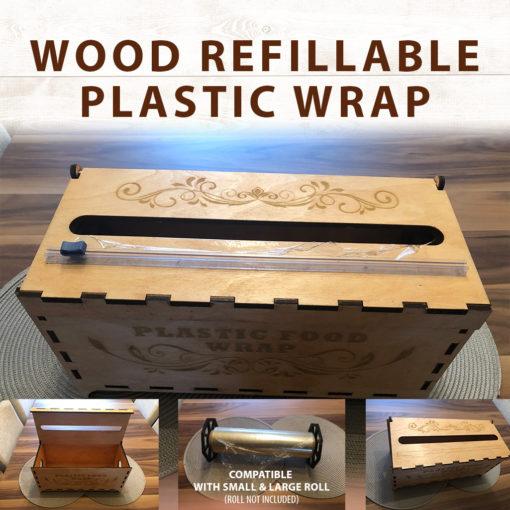 Distributeur de pellicule plastique rechargeable en bois
