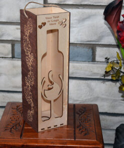 Wood Laser Cut Wine Box Design Gifts 2 color Love
