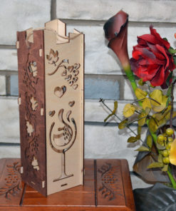 Hand Made Christmas Elegant Wine Box Wood Laser Cut