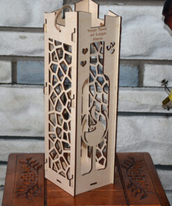 Wood Laser Cut Wine Box Design Gifts Love