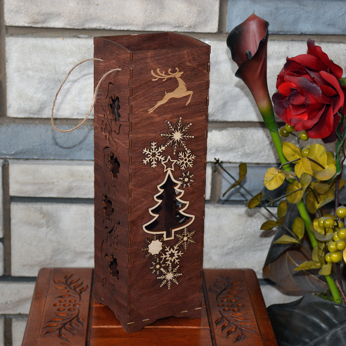 Hand Made Christmas Elegant Wine Box Wood Laser Cut