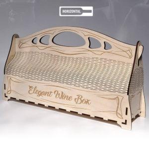 wood laser cut and engraving Elegante wine box