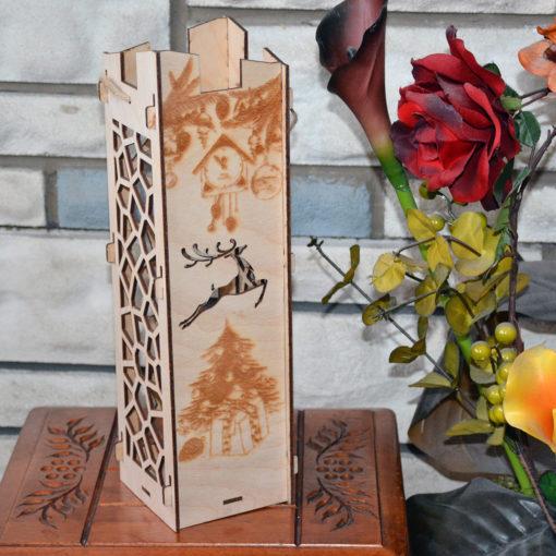 L2056--Hande Made Christmas Wine Box elegant Wood Laser Cut
