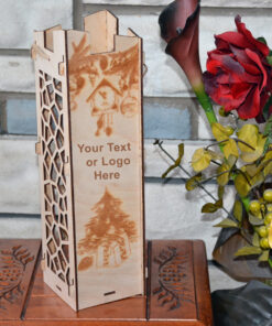 Wood Laser Cut Wine Box Design Gifts Christmas