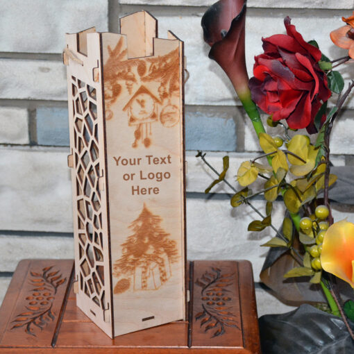 Wood Laser Cut Wine Box Design Gifts Christmas