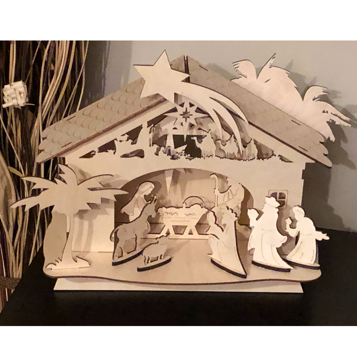 Wooden Christmas Nativity Scene