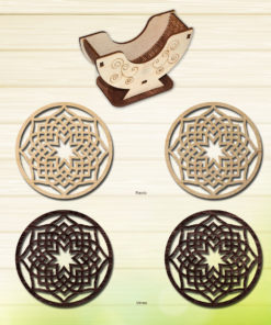 Laser-cut-coaster-set--Modern-wood-coasters--Decorative-coasters---Geometric-coasters-set--Unique-coasters-Laser-cut-wood