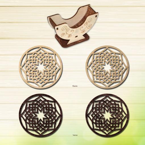 Laser-cut-coaster-set--Modern-wood-coasters--Decorative-coasters---Geometric-coasters-set--Unique-coasters-Laser-cut-wood