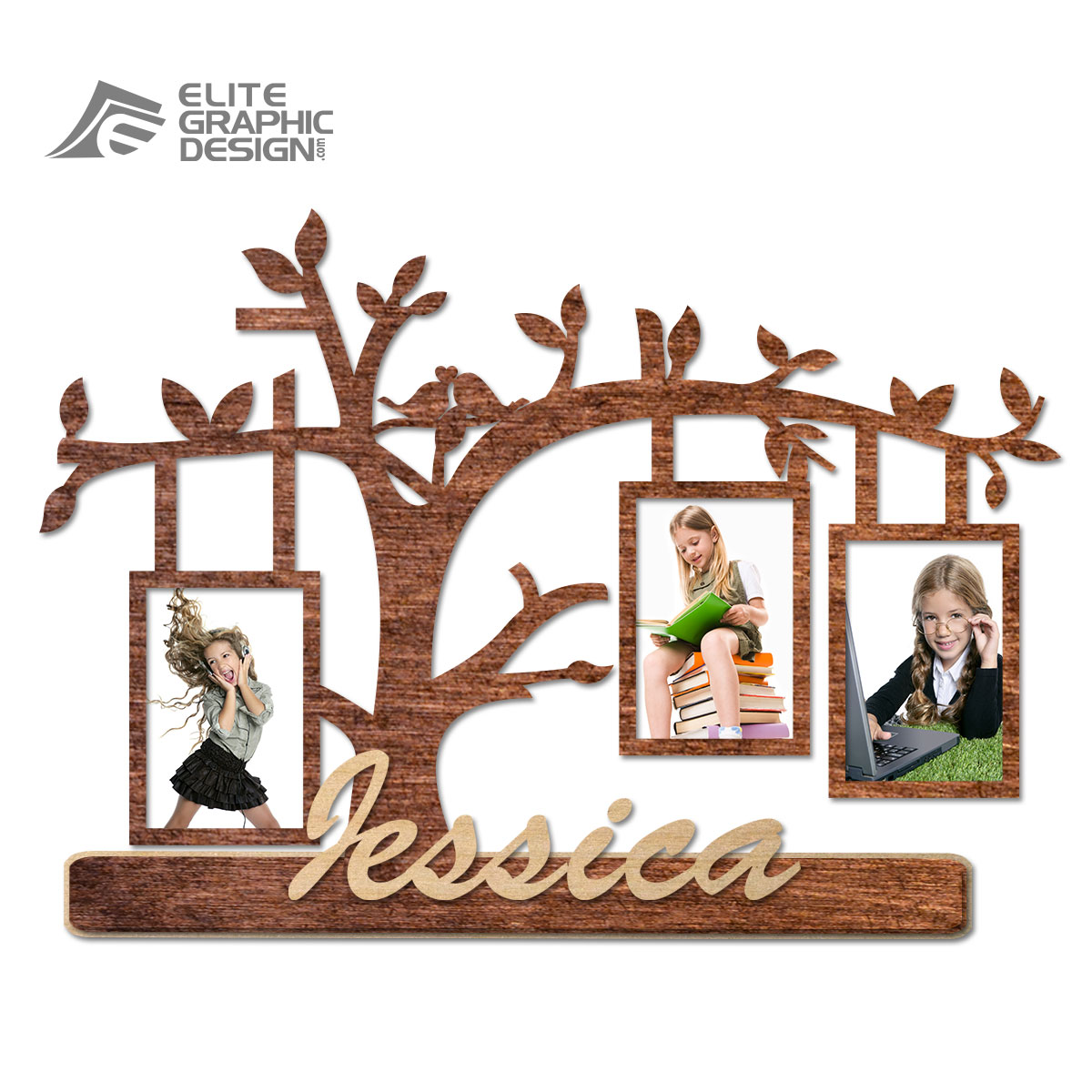 Wood Laser Cut Personalized Name Gift Decoration Flower Picture Frame Love