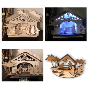 Wood Laser Cut Personalized Wooden Nativity Scene christmas