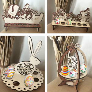 Wood Laser Cut Easter Egg Stand - Basket Decoration