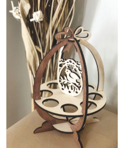 Wood Laser Cut Easter Egg Stand - Basket Decoration Rabbit