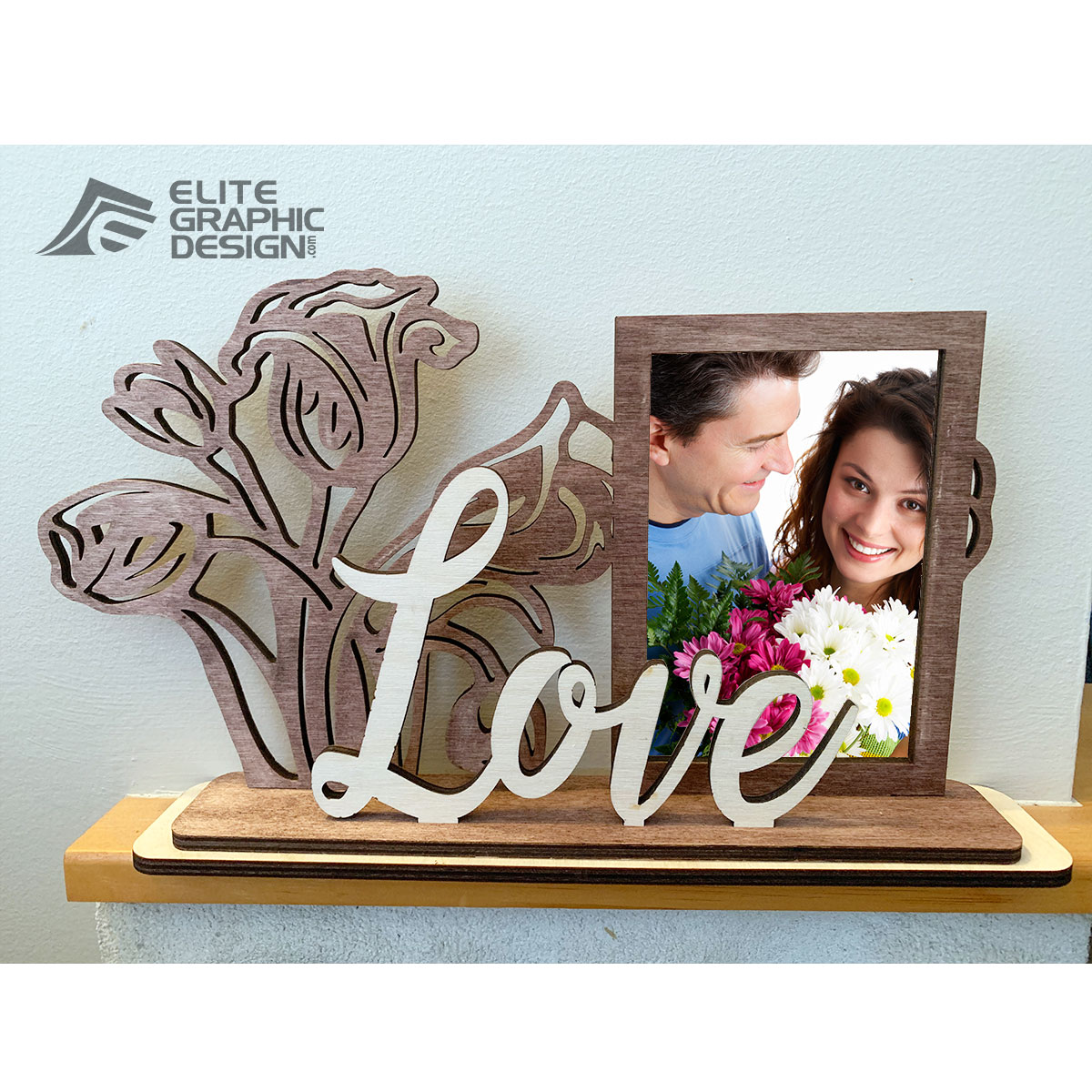 Wooden Personalized Name Gift Decoration Flower Picture Frame Love