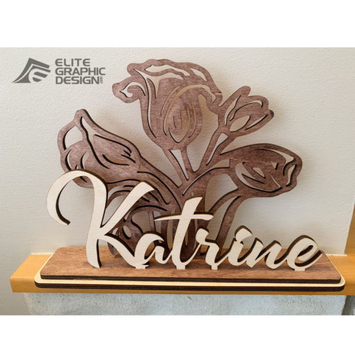 Wood Laser Cut Personalized Name Gift Decoration Flower