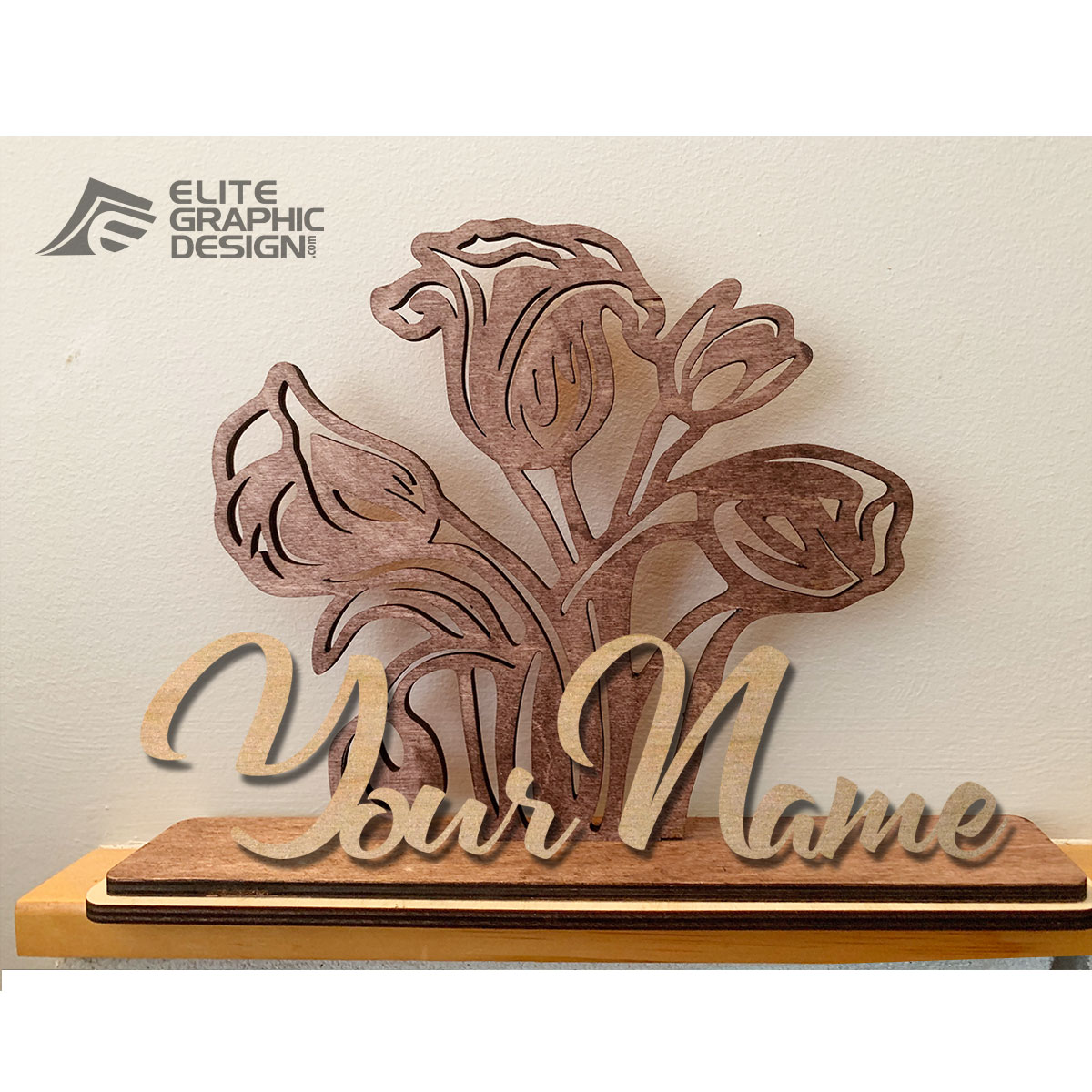 Wooden Personalized Name Gift Decoration Flower
