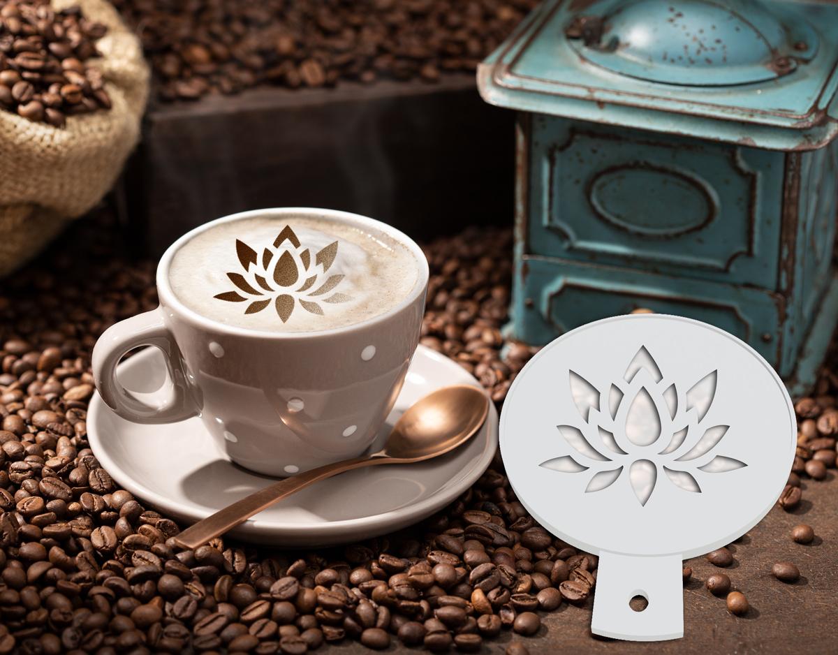 Pochoir à café - Fleur