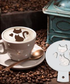 Cat Coffee Stencil