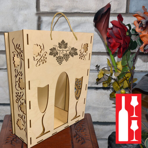 Wood Laser Cut Wine Box Gift 1 Bottle with 2 Glasses