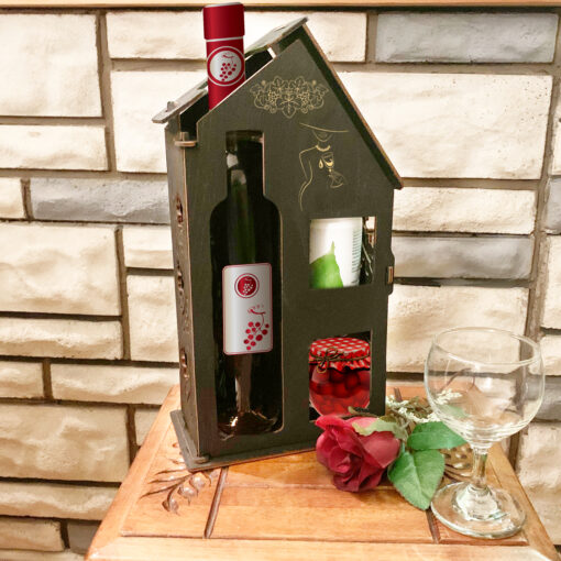 Wood Laser Cut Wine Box Bottle-House with Gifts decorative