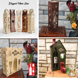 Wood Laser Cut Wine Box design