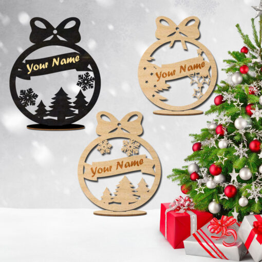 Wood laser Cut Personalized Ornaments for Tree & Desk-
