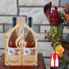 Laser Cut engraving wine Box Basket Double Bottle