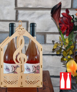 Laser Cut engraving wine Box Basket Double Bottle