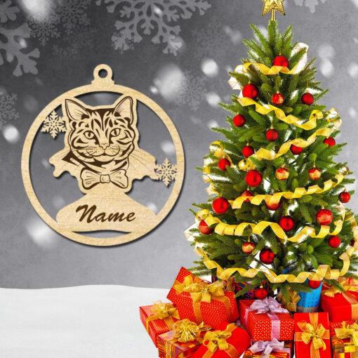 Laser Cut wood Christmas Cat animal ornaments decoration