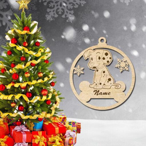 Laser Cut wood Christmas dog animal ornaments decoration