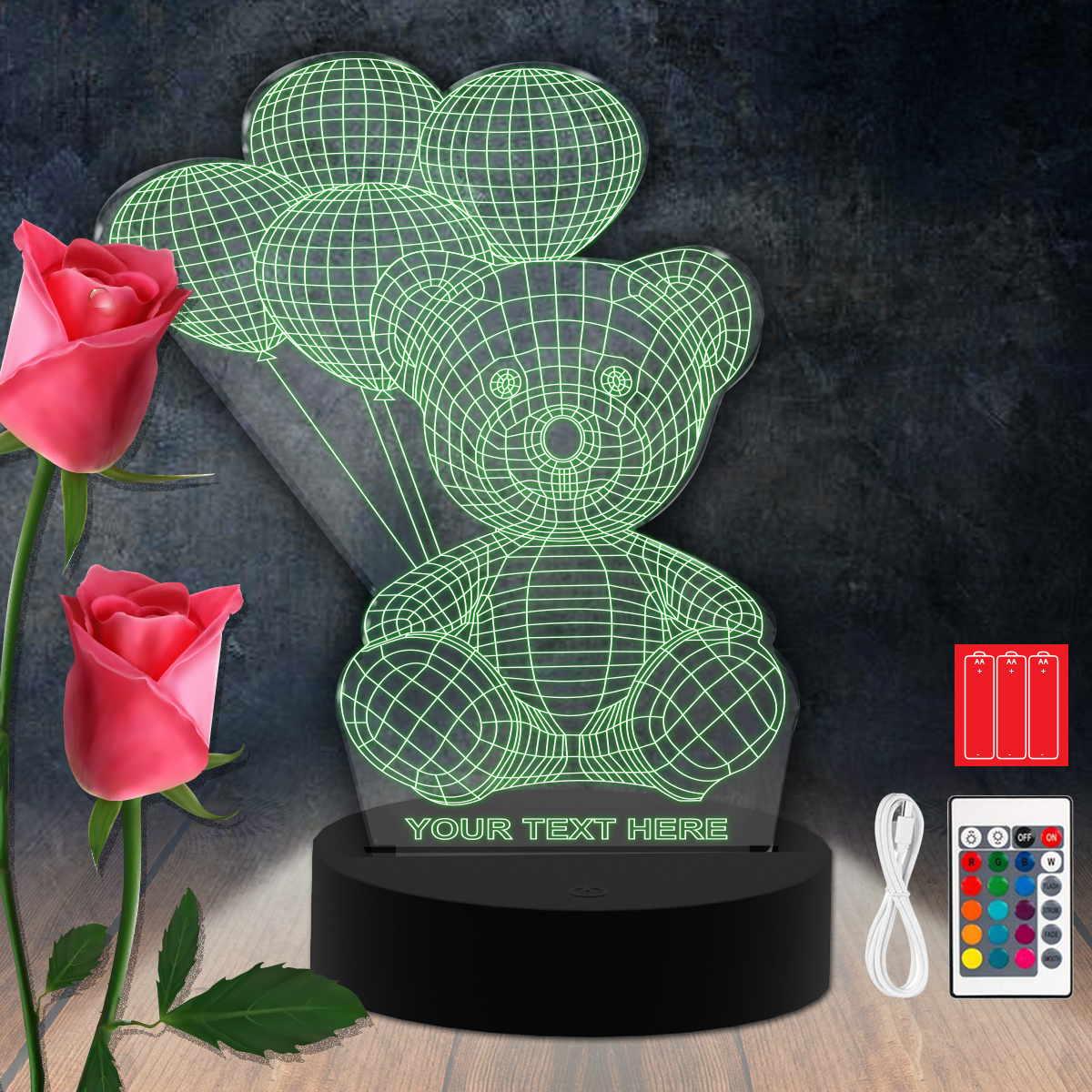 Bear Heart RGB Led Acrylic Light Lamp Color Laser Cut