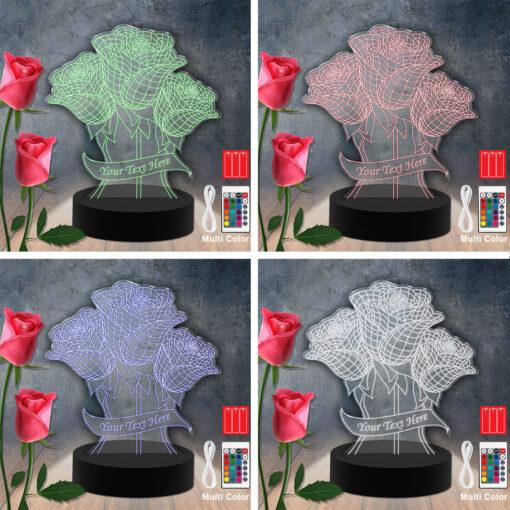 Flower Led-Acrylic-Light Lamp Color Laser Cut