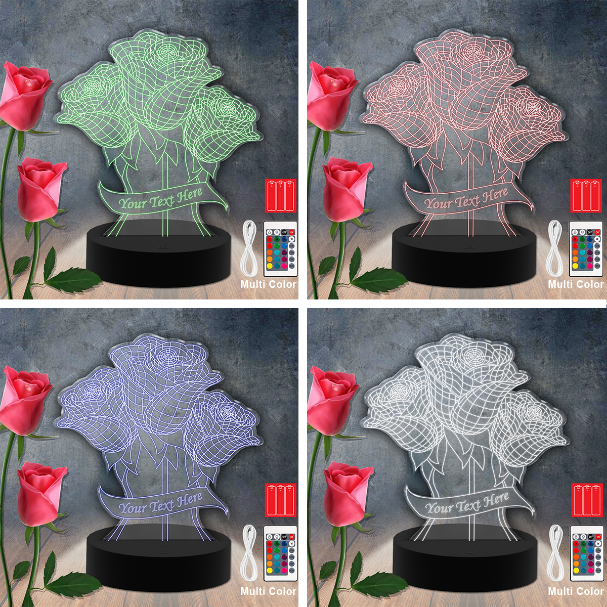 Flower Led-Acrylic-Light Lamp Color Laser Cut
