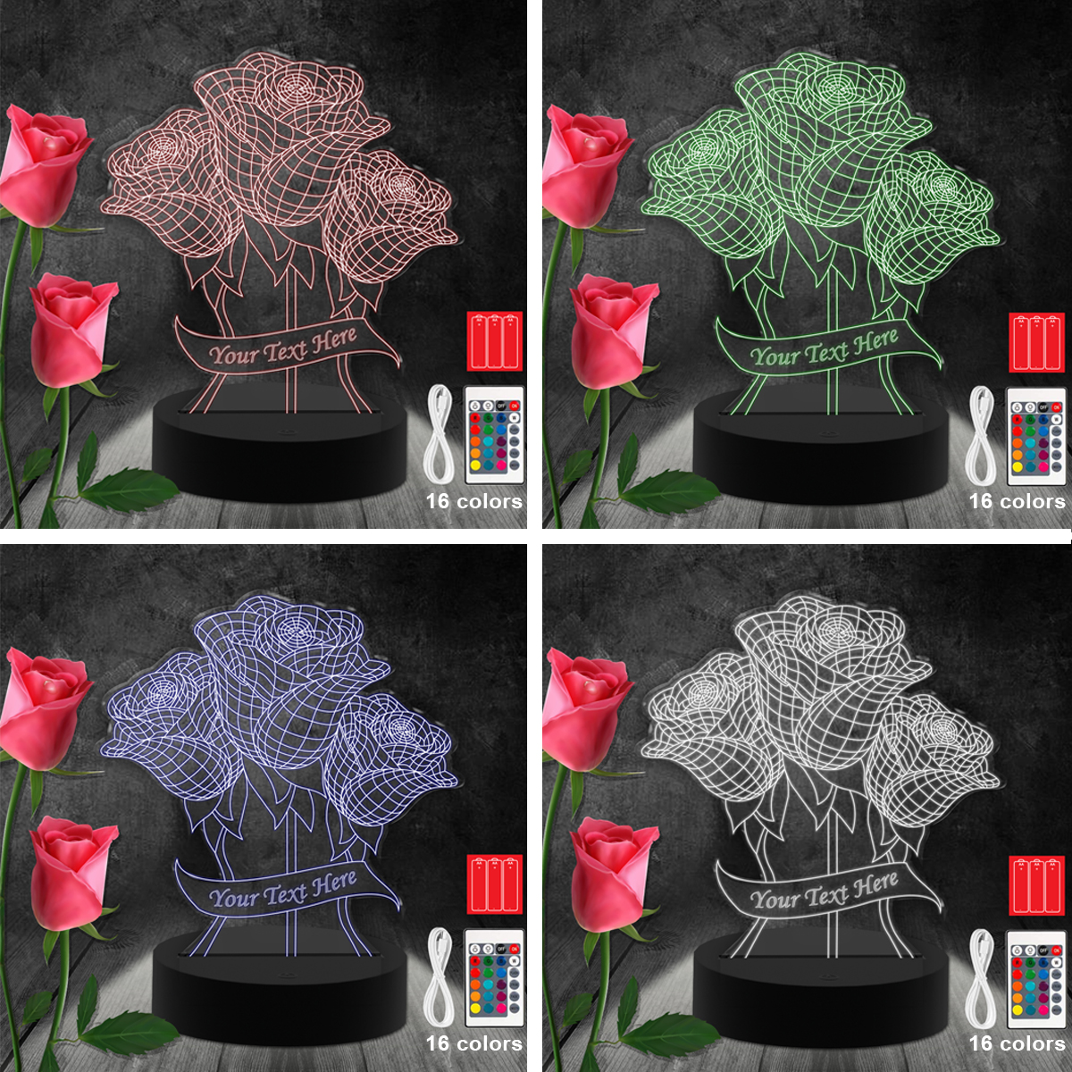 LALAMPLED001- Flower Led-Acrylic-Light Lamp Color Laser Cut